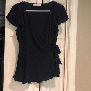 Navy wrap blouse size XS